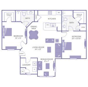 "Bedroom 12' x 11' with walk-in closet. Bedroom 12' x 10'10"". Kitchen and dining room. Living room 14' x 15'. Bonus room 8' x 7'. 2 bath. 1 linen closet. 1 walk-in closet. Washer and dryer in unit."