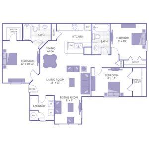 "Bedroom 12' x 10'10"" with walk-in closet. Bedroom 9' x 10' with closet. Bedroom 8' x 11' with walk-in closet. Kitchen and dining room. Living room 18' x 13'. Bonus room 8' x 7'. 2 bath. 1 linen closet. Washer and dryer in unit."